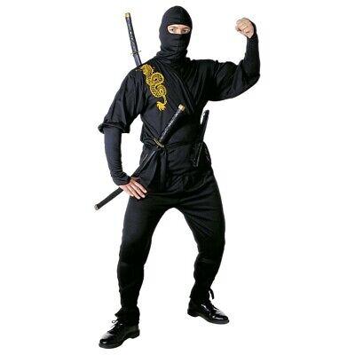 SCHWARZES HERREN NINJAKOSTÜM # Karneval Ninja Kostüm Samurai Herrenkostüm 3919