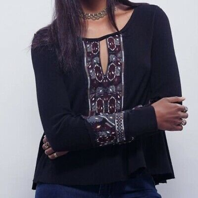 FREE PEOPLE Women's LARGE Black Thermal MARION Long Sleeve EMBROIDERED Top Tee