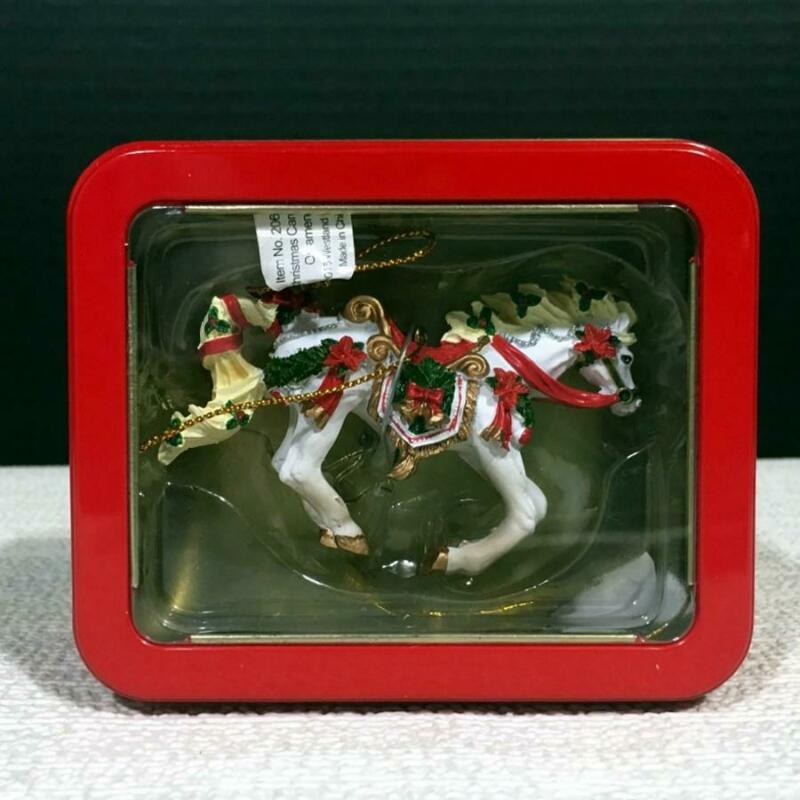 20653 CHRISTMAS CAROUSEL Resin Horse of a Different Color Ornament in Window Tin