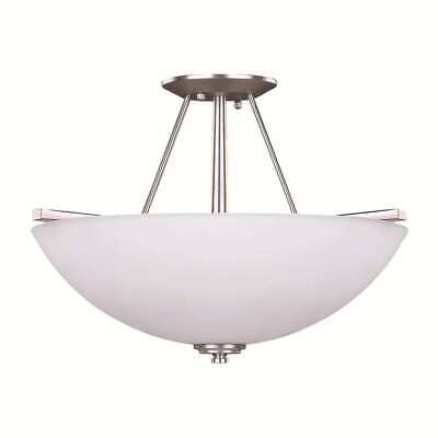 - Canarm New Yorker 3 Light Semi-Flush in Brushed Pewter - ISF256A03BPT