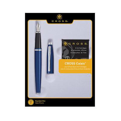 - Cross Calais Medium Point Fountain Pen,Chrome/Blue -6 Ink Cartridges AT0116F-17M