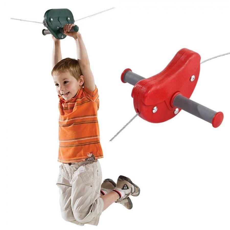 Seilbahn für Kinder rot Kabelbahn Gartenseilbahn mit Stahlrollen für Garten