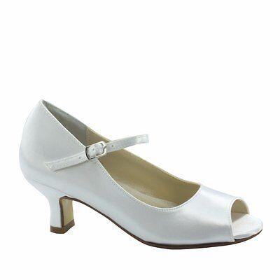 Touch Ups Gabrielle White Satin Little Girls Communion Wedding Party Shoes sz 3