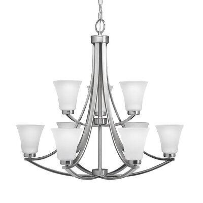 Portfolio Lyndsay 9-Light Satin Nickel 30in Lighting Ceiling Hanging Chandelier