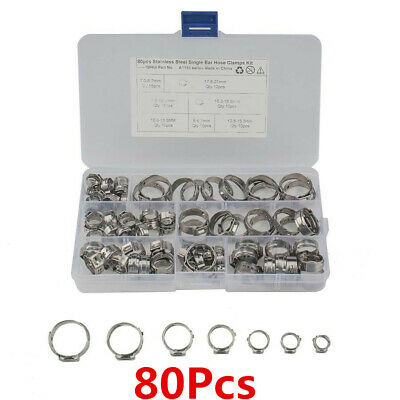 Boxed 80Pcs Single Ear Plus Stainless Steel Hydraulic Hose Clamps Pipe Fuel Air