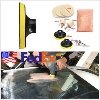 9*Car Truck Polishing Kit Glass Scratch Removal+Adapter+Oz Cerium Oxide US Stock