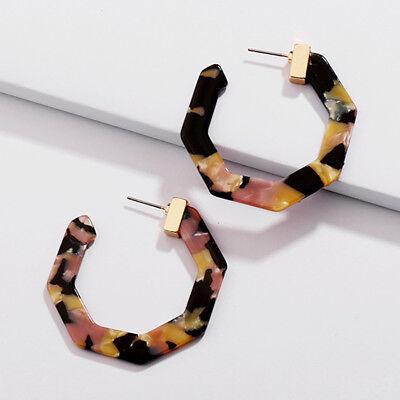 Dex Resin Hoop Earrings Hexagon Shape Tortoise Shell 2018 Fall Fashion Jewelry