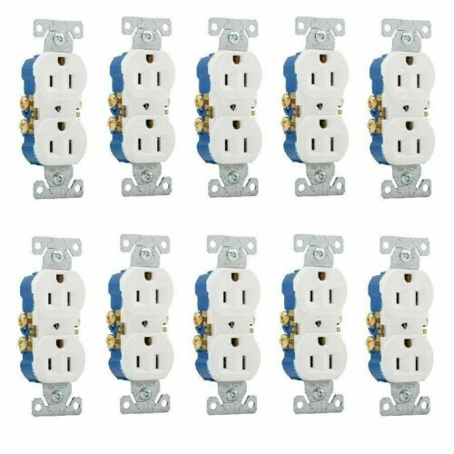 10-Pc 125-Volt 15-Amp White Residential Electrical Duplex Receptacle Outlet-Plug