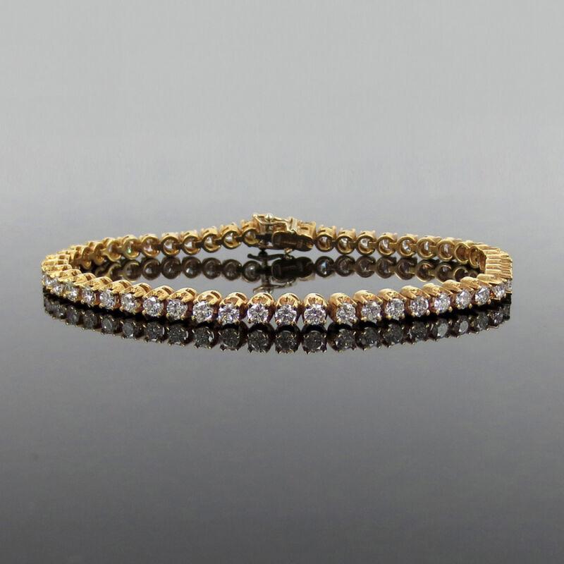 Fine Gerard 4.05ct De/vs Diamond 18k Rose Gold Italian Made Tennis Bracelet