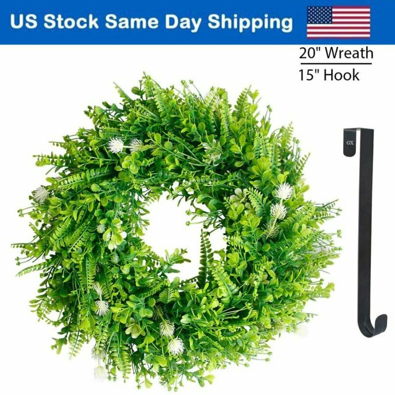 "20"" Green Leaf Wreath Spring & Summer Wreaths Door Celebration Decor W/ 15"" Hook"