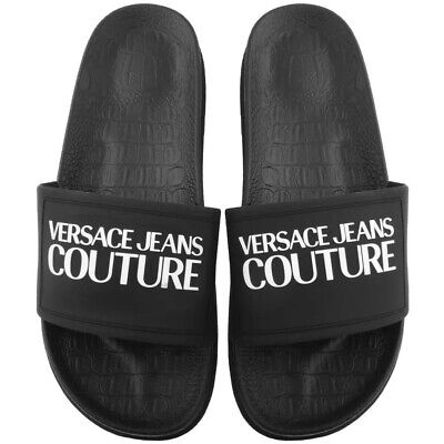 Versace Jeans Couture logo sliders in Black