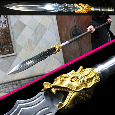 Chinese Kung Fu lance Sword Manganese Steel Spearhead Sharp Outdoors Spear Jian