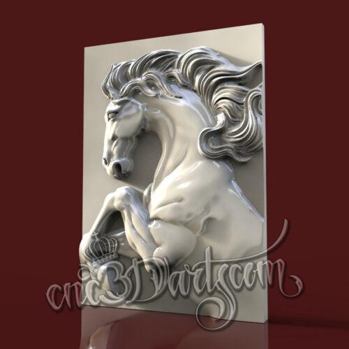 3D Model STL for CNC Router Artcam Aspire Black Horse Animal Panel Cut3D Vcarve