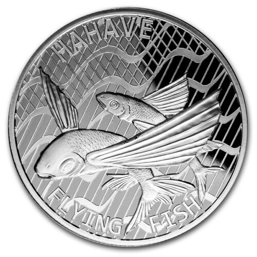 2020 Tokelau Hahave Flying Fish 1 oz .999 Silver BU Coin - ONLY 10,000 MINTED!!!