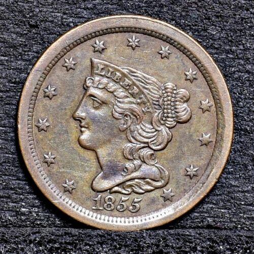1855 Half Cent - AU Details (#25979)