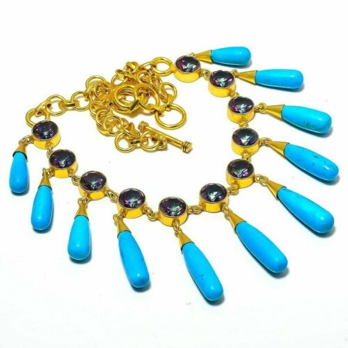 EGYPTIAN REVIVAL TURQUOISE DROP DANGLE JEWELED AMETHYST GOLD PLATED NECKLACE