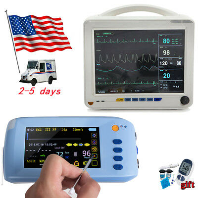 512 Patient Monitor 6-parameter Icu Vital Sign Spo2 Pr Nibp Ecg Resp Temp