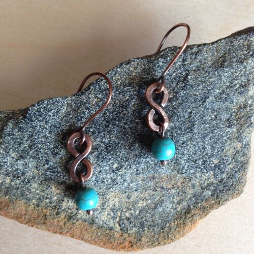 Womens earrings Turquoise beaded Copper Metal Artisan Handmade Drop Dangle
