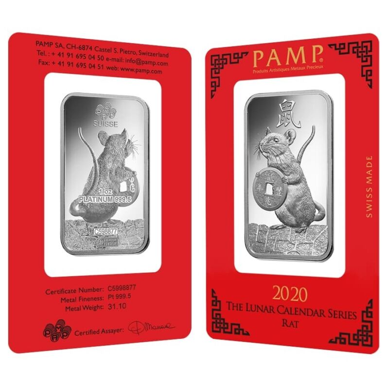 Lot of 2 - 1 oz PAMP Suisse Year of the Mouse / Rat Platinum Bar (In Assay)