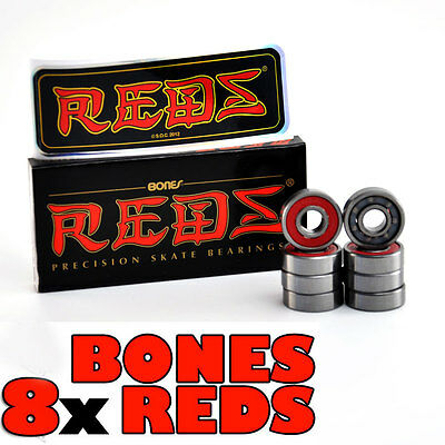 x8 Genuine Bones Reds Precision Skateboard/Scooter/Roller Derby Bearings