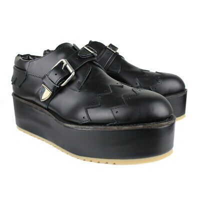 Julien David Runway Collection Black Leather Exaggerated Sole Shoes IT40 UK7