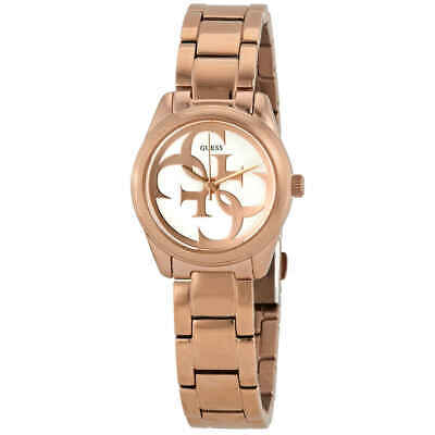 Guess Micro G Twist Silver Dial Rose Gold-tone Ladies Watch W1147L3