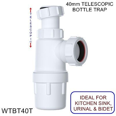 "40mm 1 1/2"" TELESCOPIC WASTE BOTTLE TRAP (76mm Seal) BATHROOM KITCHEN BASIN SINK"