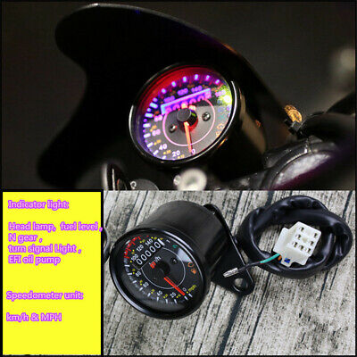Motorcycle Speedometer Odometer KM/H MPH W/Gear EFI oil Pump Indicator Light &