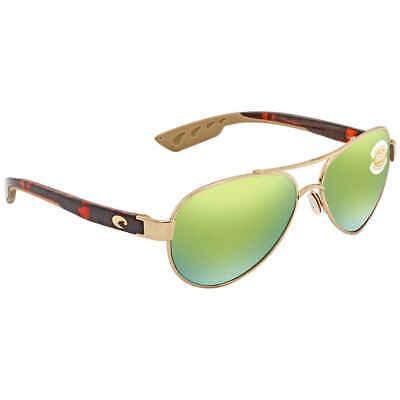 Costa Del Mar Loreto Green Mirror Aviator Sunglasses LR 64 OGMP LR 64 OGMP