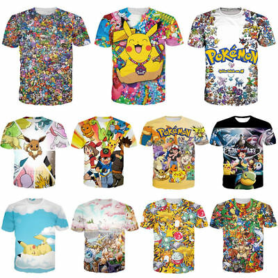 Women Men Funny Pikachu Elves Pokemon Print Casual 3D T-Shirt Short Sleeve Tee - Women Elves