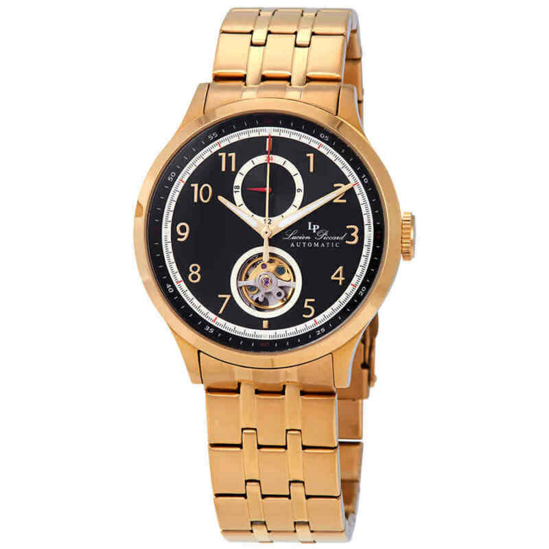 Lucien Piccard Open Heart GMT II Automatic Black Dial Men Watch