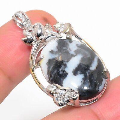African Zebra Jasper, Cz 925 Sterling Silver Jewelry Pendant 1.4 P543-118 - $2.25