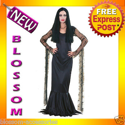 C775 The Addams Family Morticia Fancy Dress Halloween Adult Costume