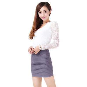 Sexy a line Girl Women Slim Seamless Stretch Tiered Ribbed Straight Pencil Skirt