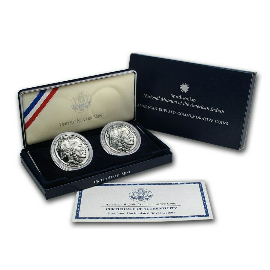 2 Coins Set 2001 Buffalo Commemorative Silver Dollars With Complete Box And COA - $174.66