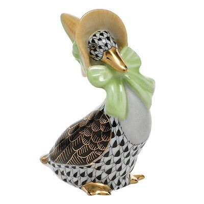 HEREND MOTHER GOOSE PORCELAIN FIGURINE, BLACK FISHNET, FLAWLESS, RETAIL $310