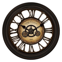 GEAR WORKS LARGE WALL CLOCK with restorations style moving gears  NEW
