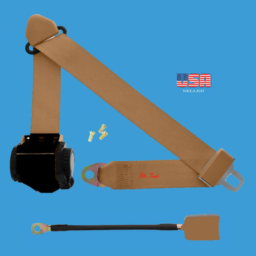 1 Kit of 3 Point Universal Strap Retractable & Adjustable Safety Seat Belt Beige