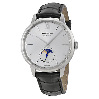 Mont Blanc Montblanc Meisterstuck Heritage Moonstruck Silver Dial Black Leather