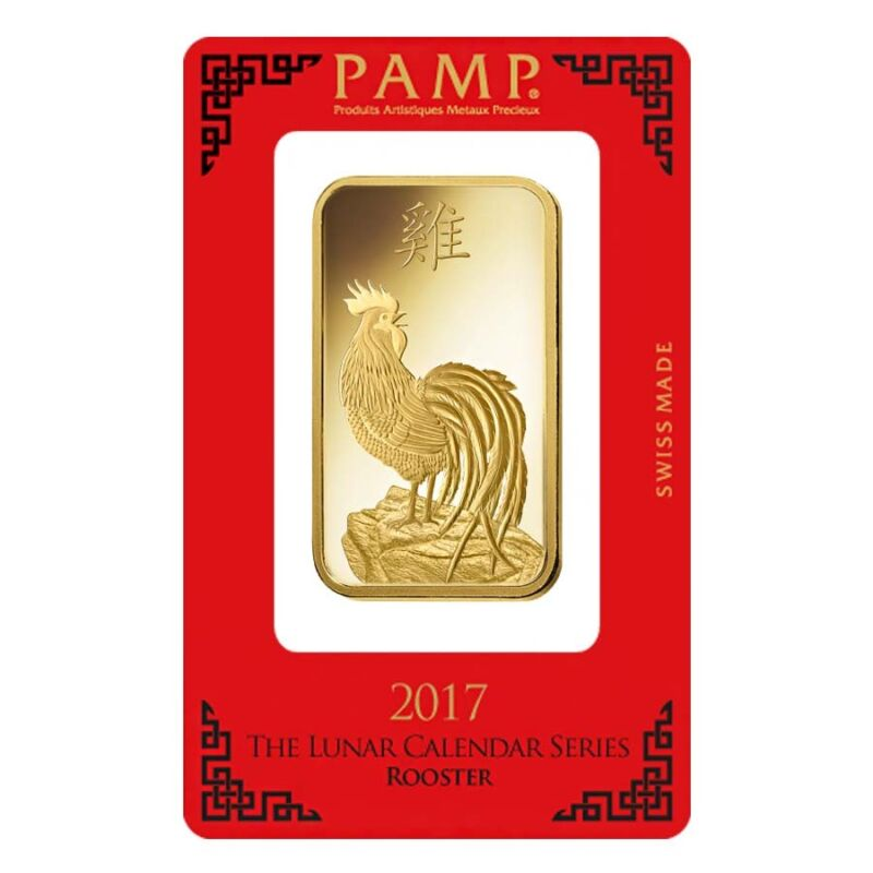 100 Gram Pamp Suisse Year Of The Rooster Gold Bar (in Assay)