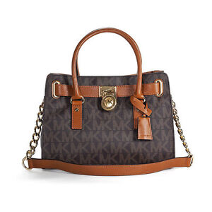 995972cc11ca Michael Kors Hamilton Brown MK Signature PVC Satchel Handbag for ...