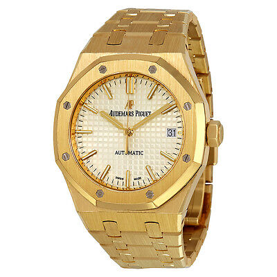 Audemars Piguet Royal Oak Silver Dial Automatic 18 Carat Yellow Gold Mens Watch