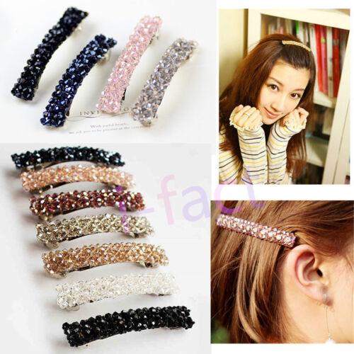 Girls Lady Women Bling Headwear Crystal Rhinestone Hair Clip Barrette Hairpin if