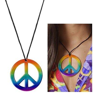 HEN KETTE 60er 70er Jahre Hippie Halskette Kostüm Schmuck (60er Peace-zeichen)