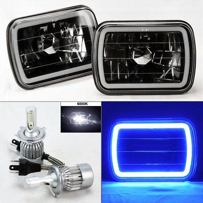 "7X6"" Black Chrome Glass CCFL Blue Halo Headlights w/ 6K 36W LED H4 Bulbs Chevy"