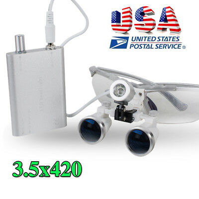 Usa Dental Loupes 3.5x 420mm Magnifying Zoom Lens With Led Head Light Brightly