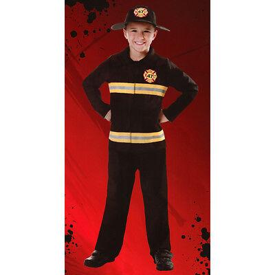 TÜM HUT Karneval Fasching Jungen Feuerwehrmann schwarz 3302 (Jungen Kostüm Feuerwehrmann)