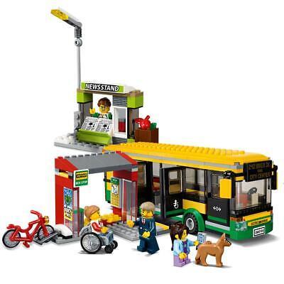 - CITY Town Bus Station Building Blocks Sets Kits Bricks Kids Classic Model Toys