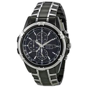 cf76a0ddd Seiko Solar Chronograph Black Dial Mens Watch SSC143 for sale online ...