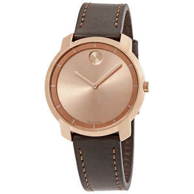 Movado Bold Rose Gold Sunray Dial Ladies Leather Watch 3600475
